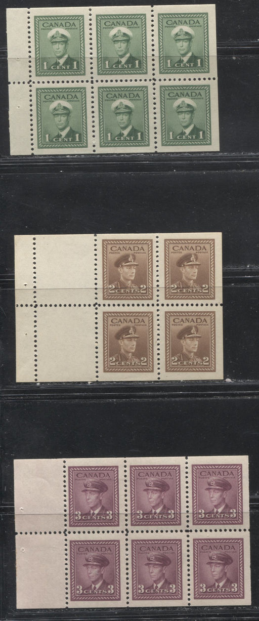 Canada #249b, 250a, 252c 1c Green-3c Rose Plum King George VI 1942-49 War Issue, 3 Different Booklet Panes, All VFLH
