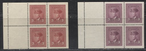 Canada #251a, 252a 3c Carmine Red - 3c Rose Plum King George VI 1942-49 War Issue, 2 Different Booklet Panes, All VFNH
