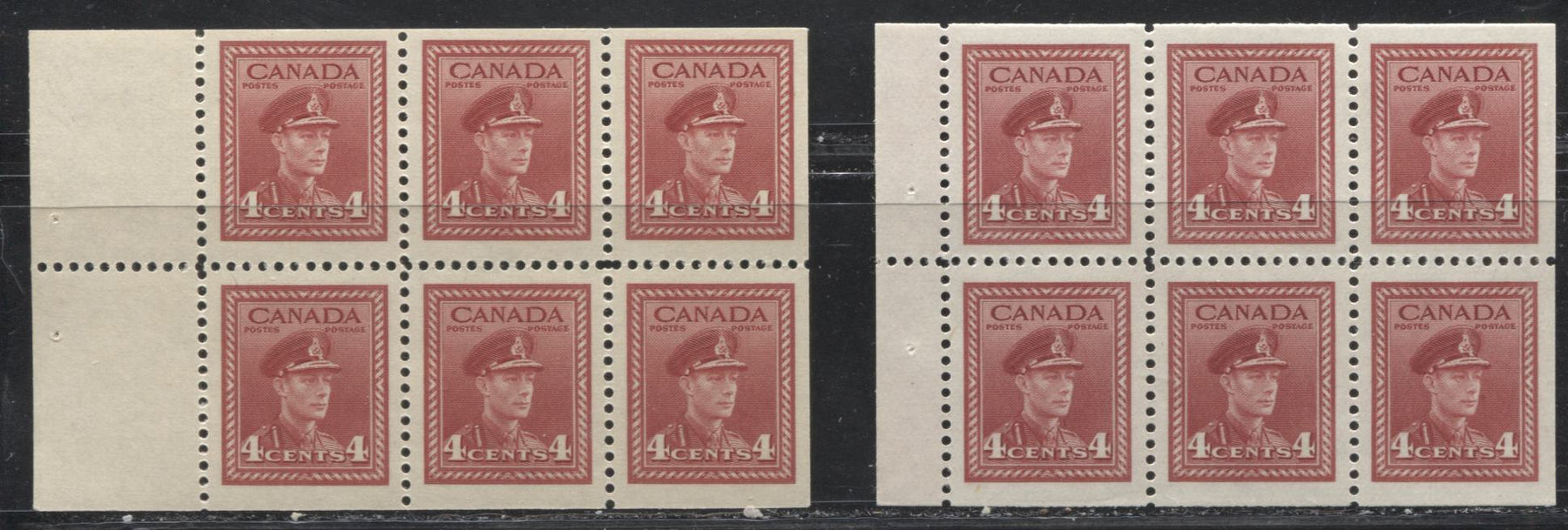 Canada #254a, 254i 4c Carmine Red King George VI 1942-49 War Issue, 2 Different Booklet Panes, All VFNH