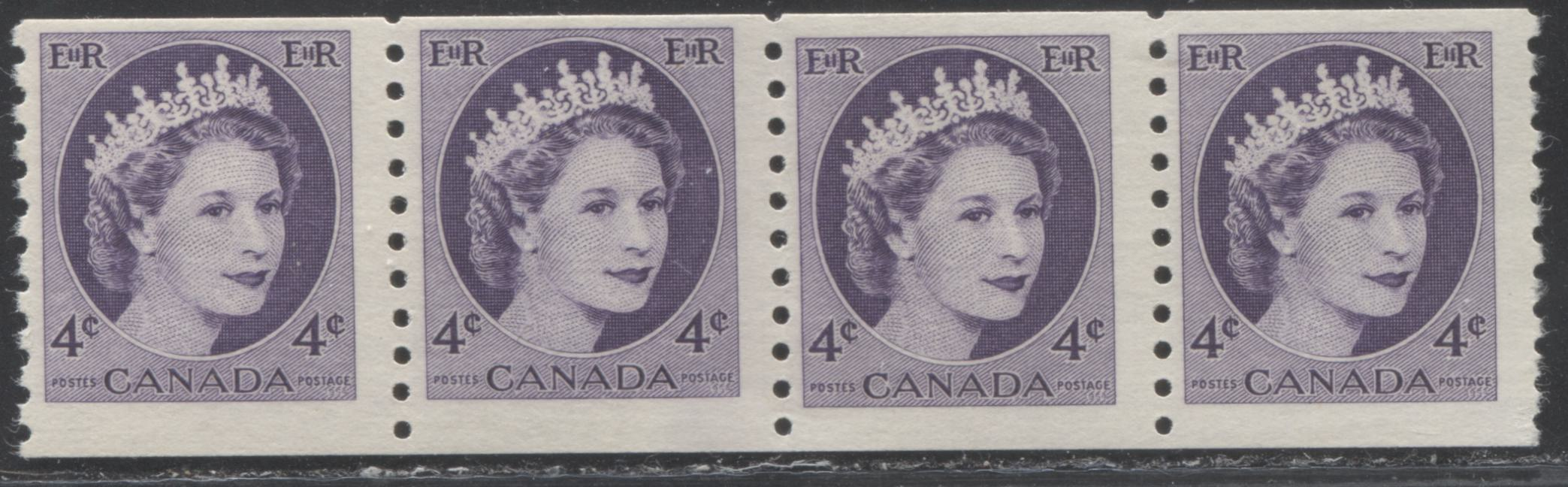Canada #347iii 4c Dull Violet Queen Elizabeth II, 1954-1962 Wilding Issue, A Fine NH Mint Coil Jump Strip of 4 on Hibrite Smooth Vertical Wove