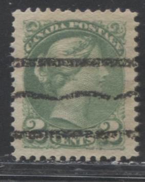 Canada #36i 2c Dull Green Queen Victoria, 1870-1897 Small Queen Issue, A VF Used Example of the Second Ottawa Printing With Walburn Style R Precancel, Perf. 12 x 12.25
