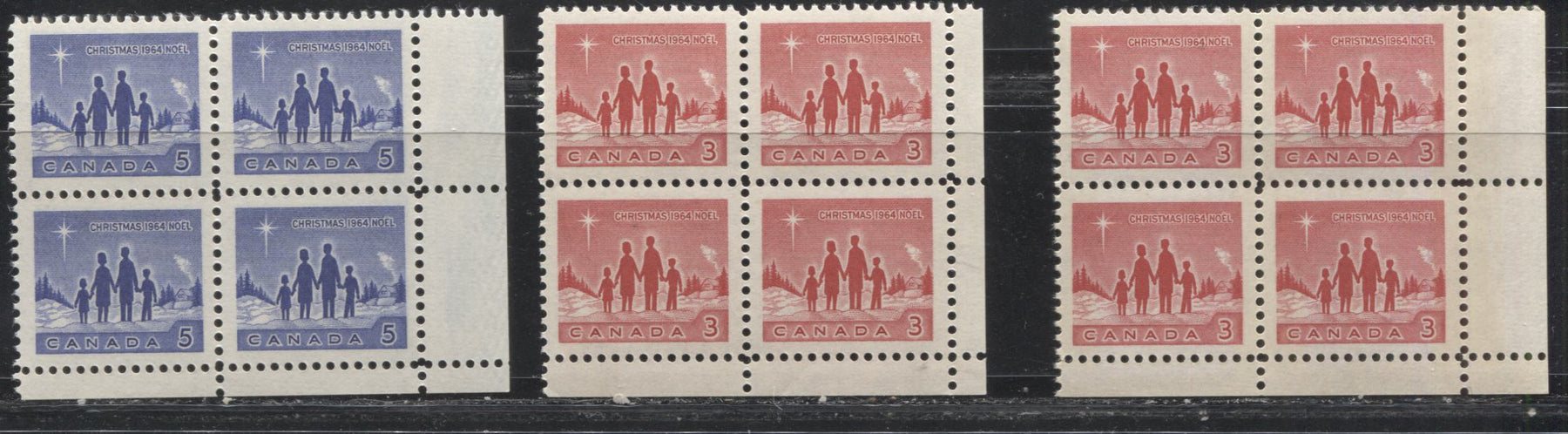 Canada #434-435i 3c Red And 5c Blue 1964 Christmas Star Of Bethlehem Issue LR Corner Blocks, DF And LF Papers. VF 80/84 NH
