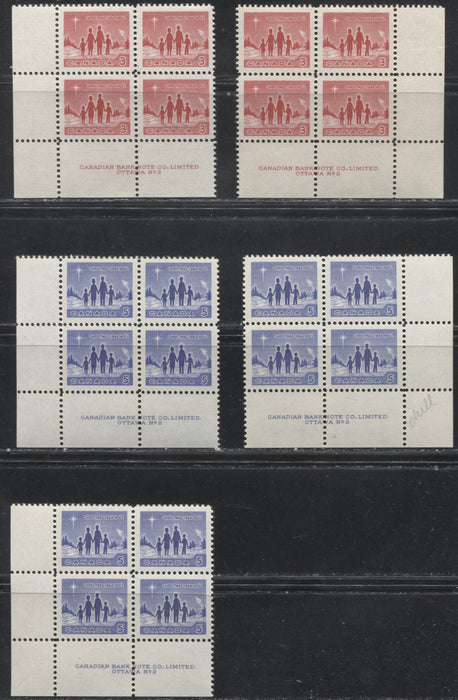 Canada #434-435i 3c Red And 5c Blue 1964 Christmas Star Of Bethlehem Issue Plate 2 LL and LR Blocks, Various Papers VF 80/84 LH And NH