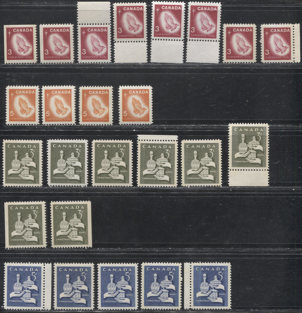 Canada #443-444p, 451-452p 3c Olive-5c Orange Complete Christmas Issues 1965-1966 Showing Stamps With Various Papers, Shades and Tagging. VF 80/84 NH