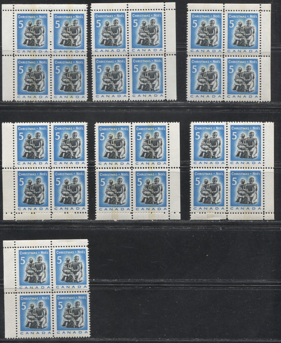 Canada #488p 5c Bright Blue and Black Inuit Soapstone Carving, Christmas 1968. Tagged Field Stock Blocks On Various Papers VF 80/84 NH