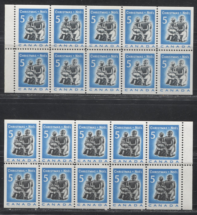Canada #488a-488ai (BK72a, BK72b) 5c Bright Blue and Black Inuit Soapstone Carving 1968 Christmas Issue. Booklet Panes of 10 Showing the Selvedge On the Left And The Right. VF80
