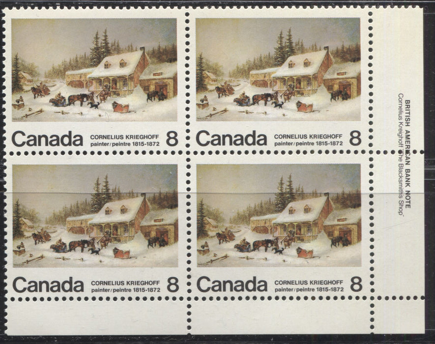 "Canada #610iv 8c Multicoloured The Blacksmith's Shop, 1972 Krieghoff Issue, A VFNH Lower Right Inscription Block Showing the ""Broken Door Frame"" and ""Branch Under Sleigh"" Varieties From Position 50"