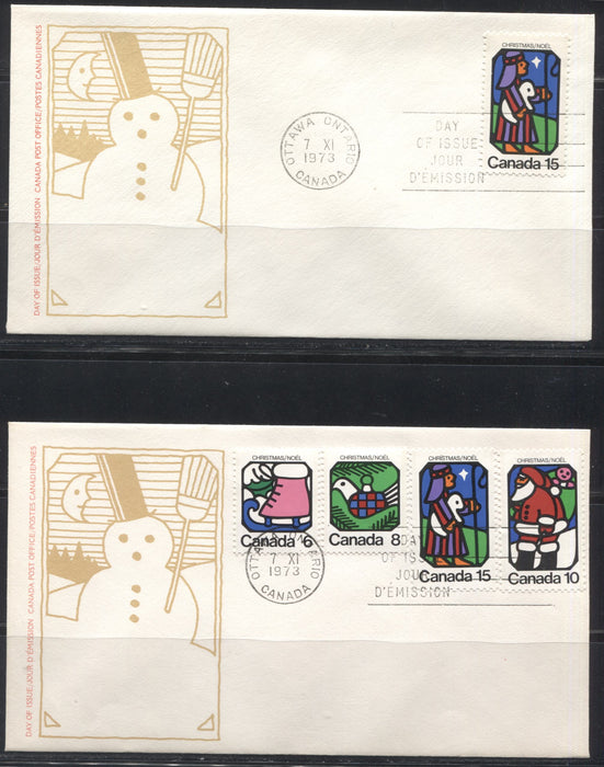 Canada #625-628  6c-15c Multicolored 1973 Christmas Issue, 4 First Day Covers Featuring Singles, Pairs and Plate Blocks.