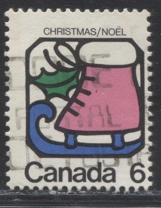 Canada #625 G1aL 6c Multicoloured, Ice Skate, 1973 Christmas Issue, a Fine Used Single, on MF/HF Paper Showing 1-Bar Tag Error