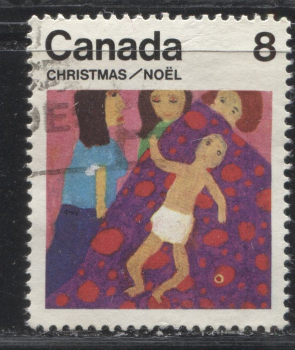 "Canada #676T1 8c Multicoloured, Child, 1975 Christmas Issue, a Very Fine Used Single, on DF/LF Paper With the Tagging Completely Missing and Additional ""Donut"" Flaw on the Blanket"