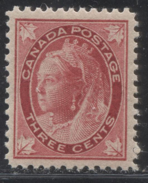 Canada #69 3c Carmine Red Queen Victoria, 1897-1898 Maple Leaf Issue, A Very Fine NH Example on Vertical Wove Paper