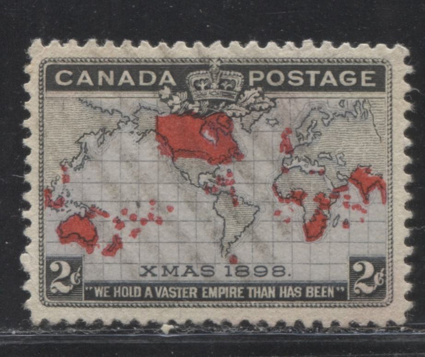 Canada #85 2c Lavender, Black and Pale Carmine, Mercator Projection 1898 Imperial Penny Postage Issue, A Very Fine Used Example With Light Cancel