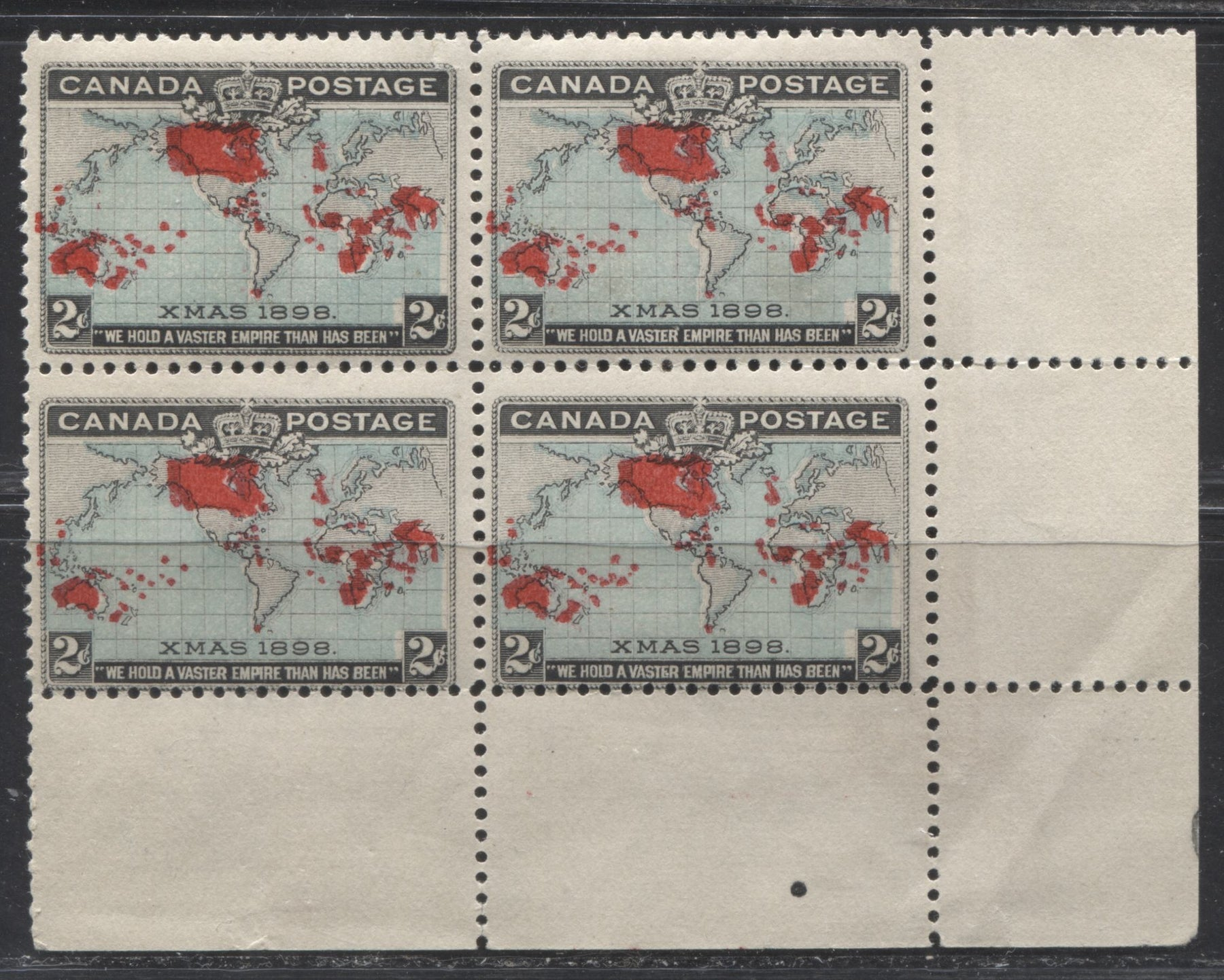 Canada #86 2c Greenish Blue, Black and Carmine, Mercator Projection 1898 Imperial Penny Postage Issue, a Fine OG Corner Block Containing the Position 89 Re-Entry