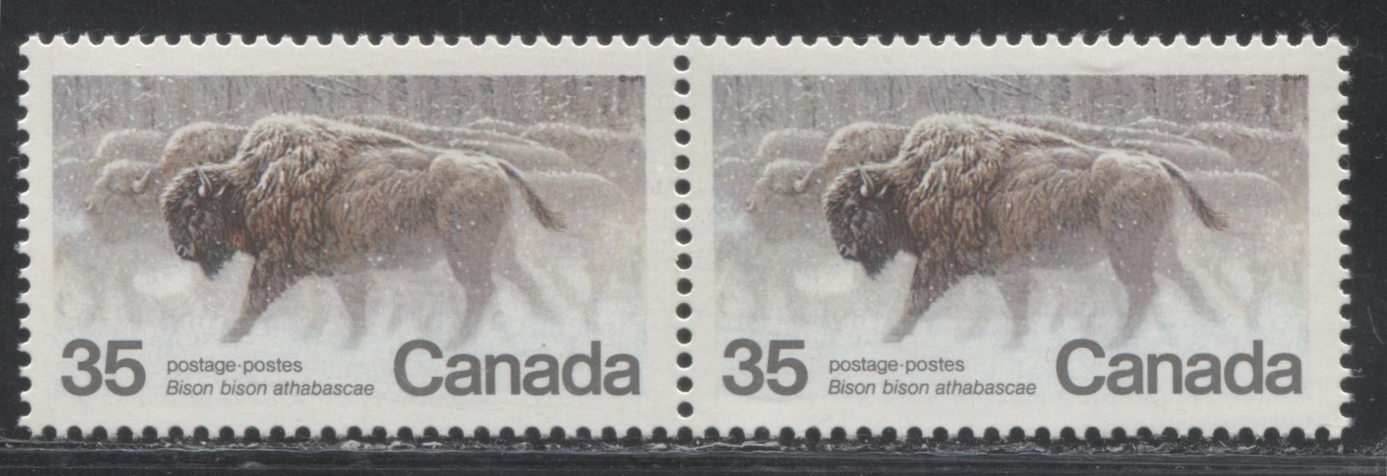 "Canada #884var 35c Multicoloured Wood Bison, 1981 Endangered Wildlife Issue, A VFNH Pair Showing the ""Neck Wound"" Variety"