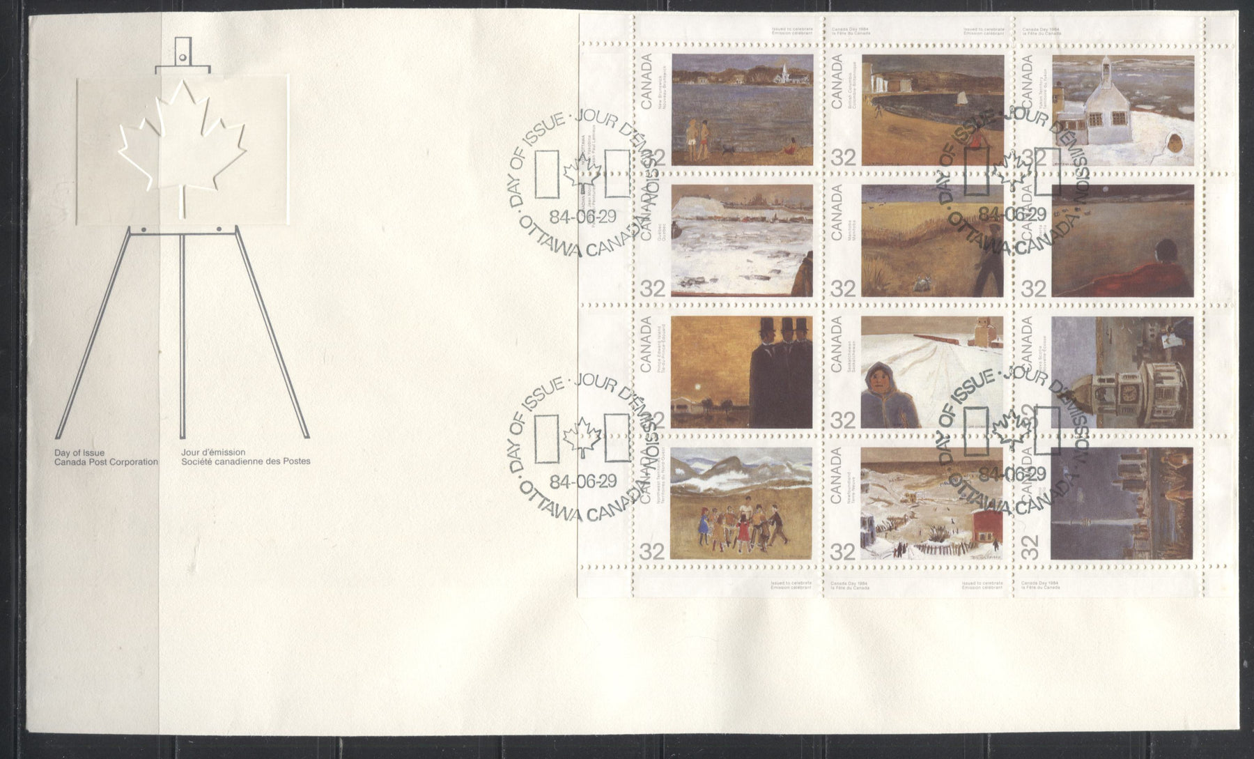 Canada #1027a, Canada Day 1984 Pane Of 12 On Canada Post OFDC