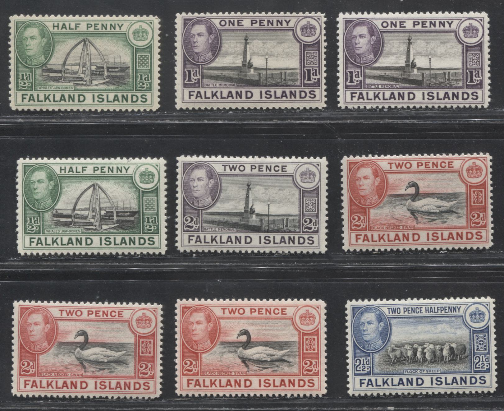 Falkland Islands SG#146-151 1/2d - 2.5d, 1938-1952 Pictorial Definitive Issue, A VFNH Selection of 9 Stamps With 1938 and Wartime Printings