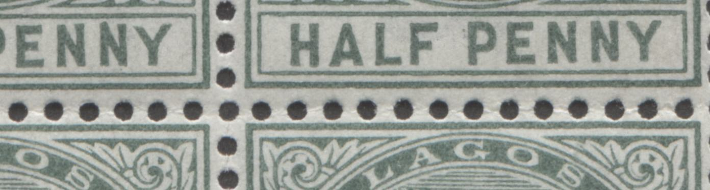 "Lagos #21 1/2d Deep Green Queen Victoria 1887-1902 Bicoloured Keyplate Issue, A VFNH Plate 1 Block Showing the Unlisted ""Deformed ""NN"" in ""Penny"" on Position 1 Brixton Chrome"