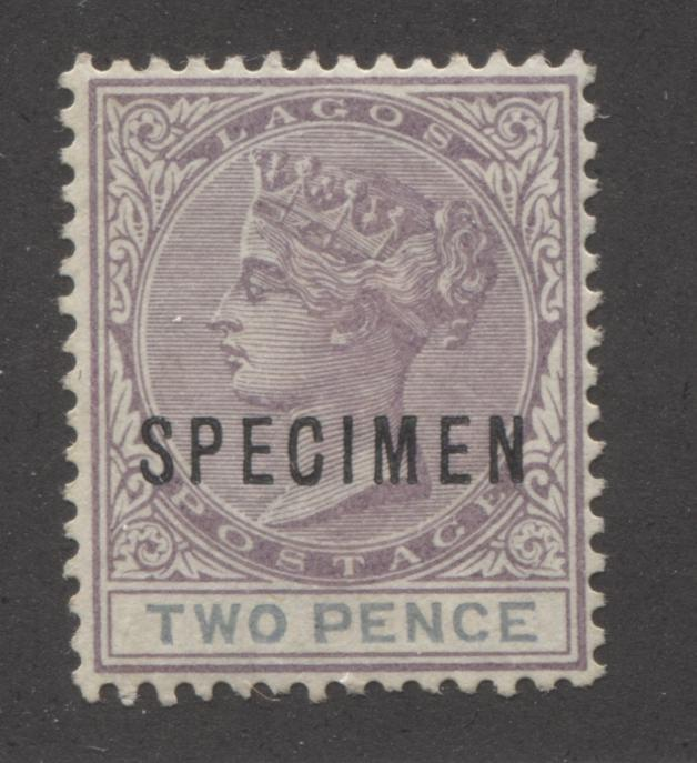 Lagos #30 2d Dull Mauve and Dull Greyish Blue Blue Queen Victoria 1887-1902 Bicoloured Keyplate Issue, A VFOG Example of the First Printing With Specimen Overprint Brixton Chrome
