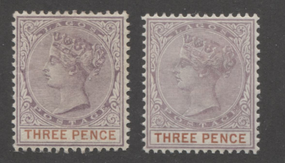 Lagos #32 3d Dull Mauve and Chestnut Queen Victoria 1887-1902 Bicoloured Keyplate Issue, Two VF OG Mint Examples, Each From a Different Printing Brixton Chrome