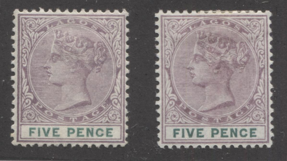 Lagos #34 5d Dull Mauve and Green Queen Victoria 1887-1902 Bicoloured Keyplate Issue, Two VF OG Mint Examples, Each From a Different Printing Brixton Chrome