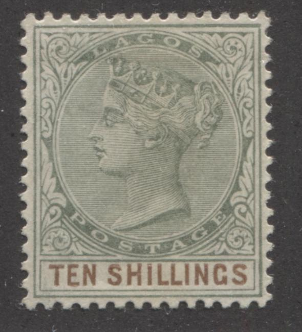 Lagos #41 10/- Dull Green and Dull Brown Queen Victoria 1887-1902 Bicoloured Keyplate Issue, A VF OG Mint Example of a Pre-1890 Printing Brixton Chrome