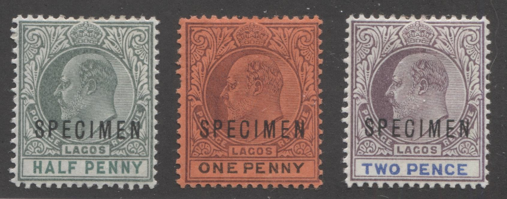 Lagos #44s-46s 1/2d-2d King Edward VII, 1903-1904 Single Crown CA Issue, VG and VF Mint Specimen Overprints Brixton Chrome