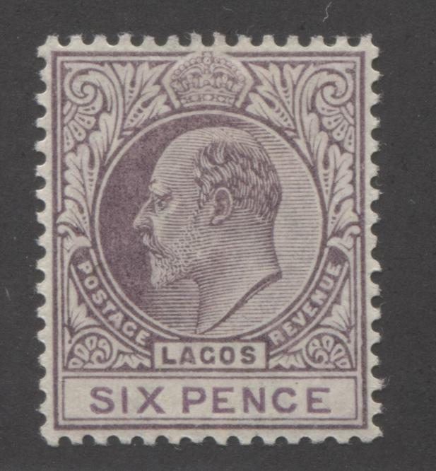 Lagos #49 6d Purple and Dull Purple King Edward VII, 1903-1904 Single Crown CA Issue Very Fine Mint LH Brixton Chrome