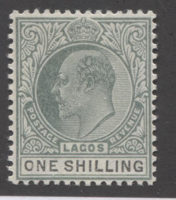 Lagos #50 1/- Black and Dull Green King Edward VII, 1903-1904 Single Crown CA Issue Very Fine Mint Extremely LH Brixton Chrome