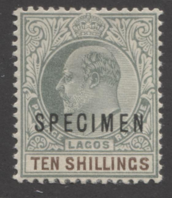 Lagos #53s 10/- Dark Brown and Dull Green King Edward VII, 1903-1904 Single Crown CA Issue, A VF Mint Specimen Overprint Brixton Chrome