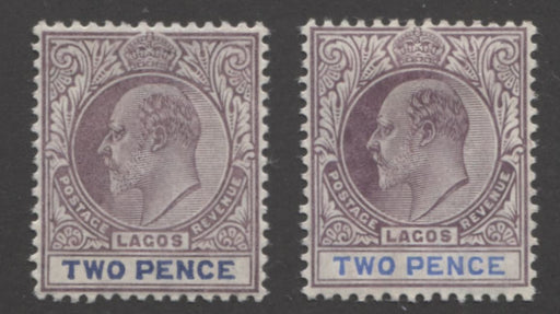 Lagos #56-56a 2d Ultramarine and Purple King Edward VII, 1904-1906 Multiple Crown CA Issue, VF OG Mint Examples of Both the Ordinary and Chalk Surfaced Papers Brixton Chrome