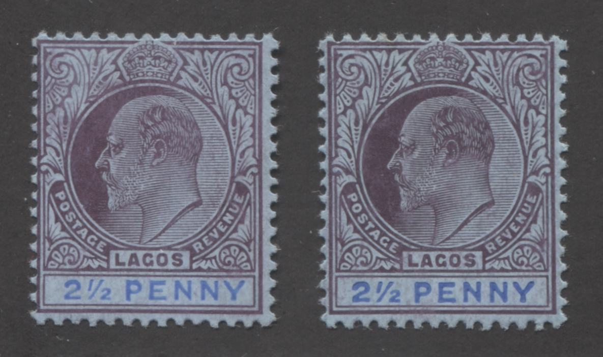 Lagos #57-57a 2.5d Ultramarine and Purple on Grey-Blue King Edward VII, 1904-1906 Multiple Crown CA Issue, Fine and Very Fine OG Mint Examples of Both the Large and Small Duty Plates Brixton Chrome