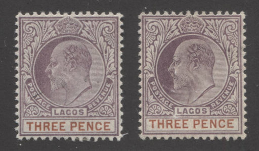Lagos #58-58a 3d Chestnut and Purple King Edward VII, 1904-1906 Multiple Crown CA Issue, VF OG Mint Examples of Both the Ordinary and Chalk Surfaced Papers Brixton Chrome