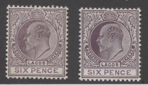 Lagos #59-59a 6d Purple and Purple King Edward VII, 1904-1906 Multiple Crown CA Issue, VF OG Mint Examples of Both the Ordinary and Chalk Surfaced Papers Brixton Chrome