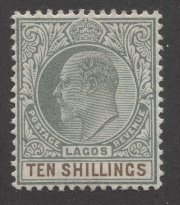 Lagos #63 10/- Deep Brown and Dull Green King Edward VII, 1904-1906 Multiple Crown CA Issue Very Fine Mint OG - Only 6,240 Issued! Brixton Chrome