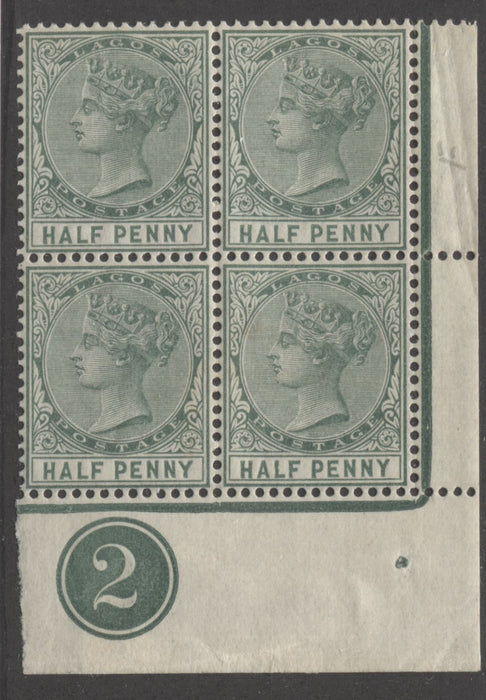 Lagos SG#21 1/2d Deep Green Queen Victoria 1887-1902 Bicoloured Keyplate Issue, A Lower Right VFNH Plate 2 Block Brixton Chrome