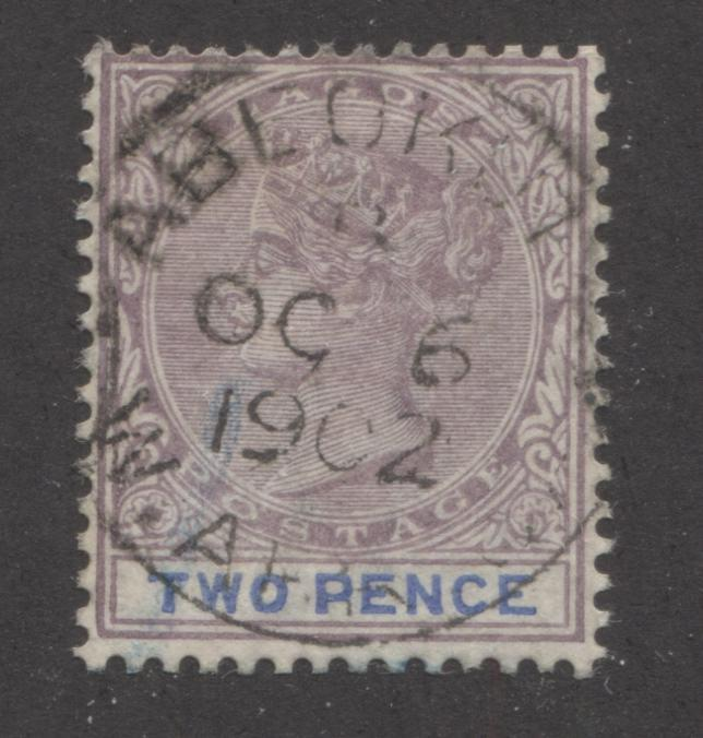 Lagos SG#30 2d Mauve and Ultramarine 1887-1901 Queen Victoria Bicoloured Keyplate Issue, Beautiful CDS Used Example, Cancelled With October 6, 1902 Abeokuta CDS Brixton Chrome