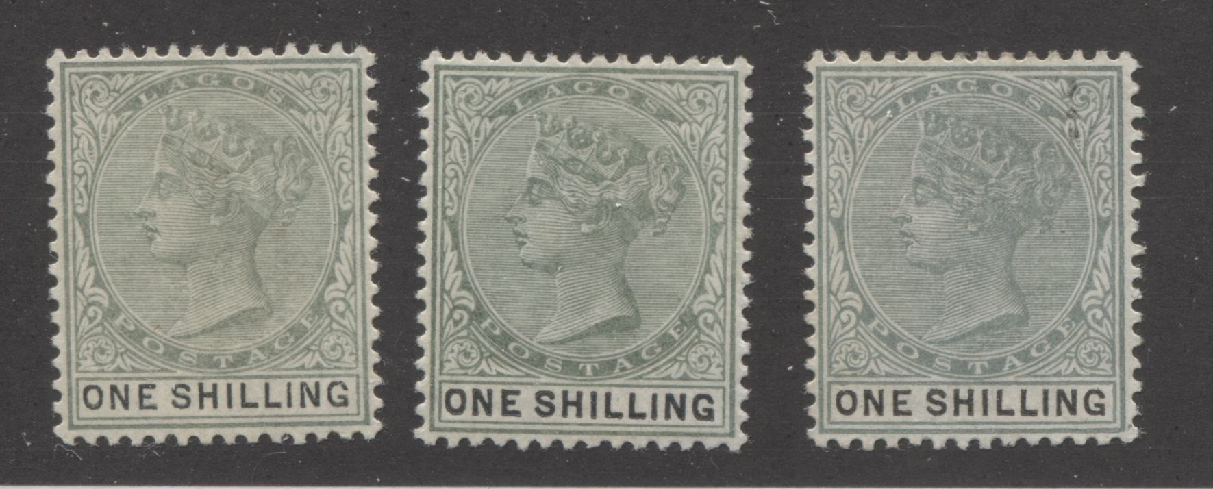 Lagos SG#38, 38a 1/- Dull Green and Bluish Green and Black, Queen Victoria, 1887-1902 Bicoloured Keyplate Issue, Three Very Fine Mint OG Examples, Each a Different Printing Brixton Chrome