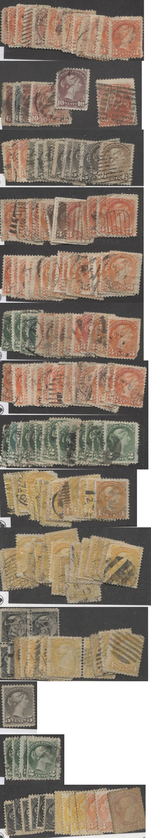 Canada #34/46 1870-1897 Small Queen Issue - A Study Lot of Mostly Damaged but Useful Stamps