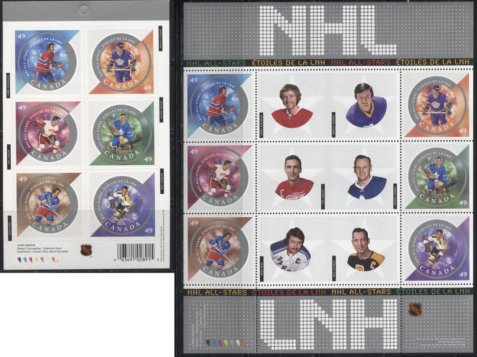 Canada #2017-2018 49c Multicoloured, 2004 NHL All Stars Issue, VFNH Examples of the Souvenir Sheet and The Self-Adhesive Booklet