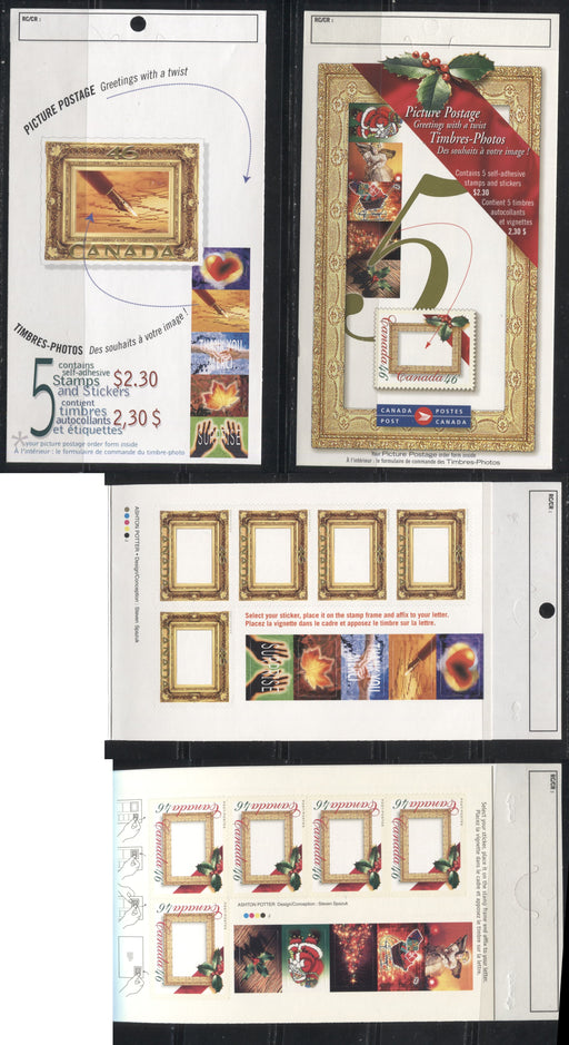 Canada #BK227a, BK232a 2000 Picture Postage Greetings Issue, 2 Complete $2.30 Booklets, Dull Fluorescent JAC Paper, 4 mm GT-4 Tagging, Field Stock Sealed Covers
