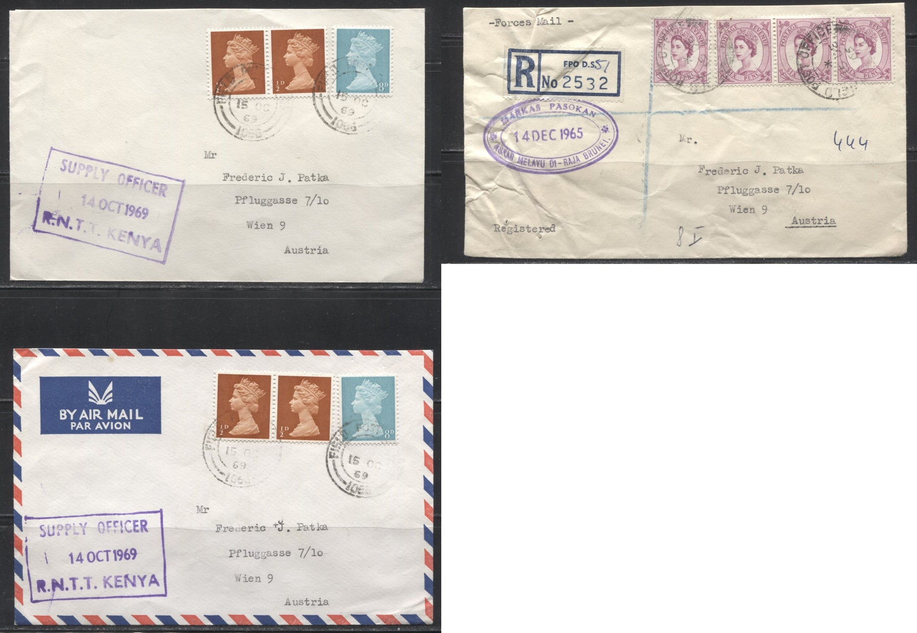 Great Britain 1965-1969 - A Group of 4 Fine to Very Fine Covers Franked With Wilding, Machins and Commemoratives, to Austria