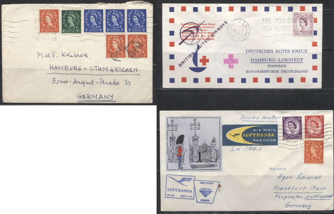 Great Britain 1958-1963 Three Very Fine Wilding Covers to Germany
