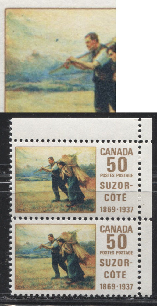 "Canada #492iii 50c Multicoloured 1969 Suzor-Cote Issue HF Paper, A VFNH UR Sheet Margin Pair Showing the ""Low Moon"" Variety From Position 5"