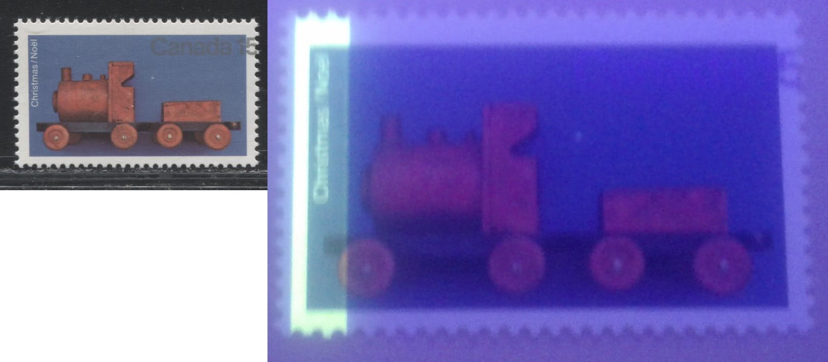 Canada #839G1aL 15c Multicoloured, Toy Train, 1979 Christmas Issue, A VFNH Single Showing Significant Shift of the Silver and 1-Bar Tag Error