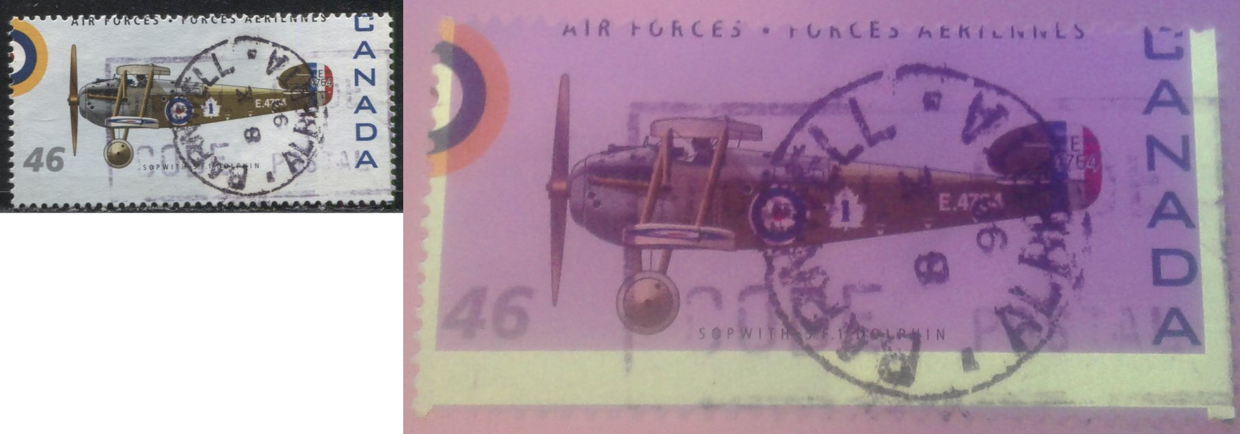 Canada #1808h 46c Multicoloured, Sopwith 5.F.1 Dolphin, 1999 Canadian Air Forces Issue a Very Fine Used Single Showing a Significant Misperf, Resulting in a 3-Bar Tag Error