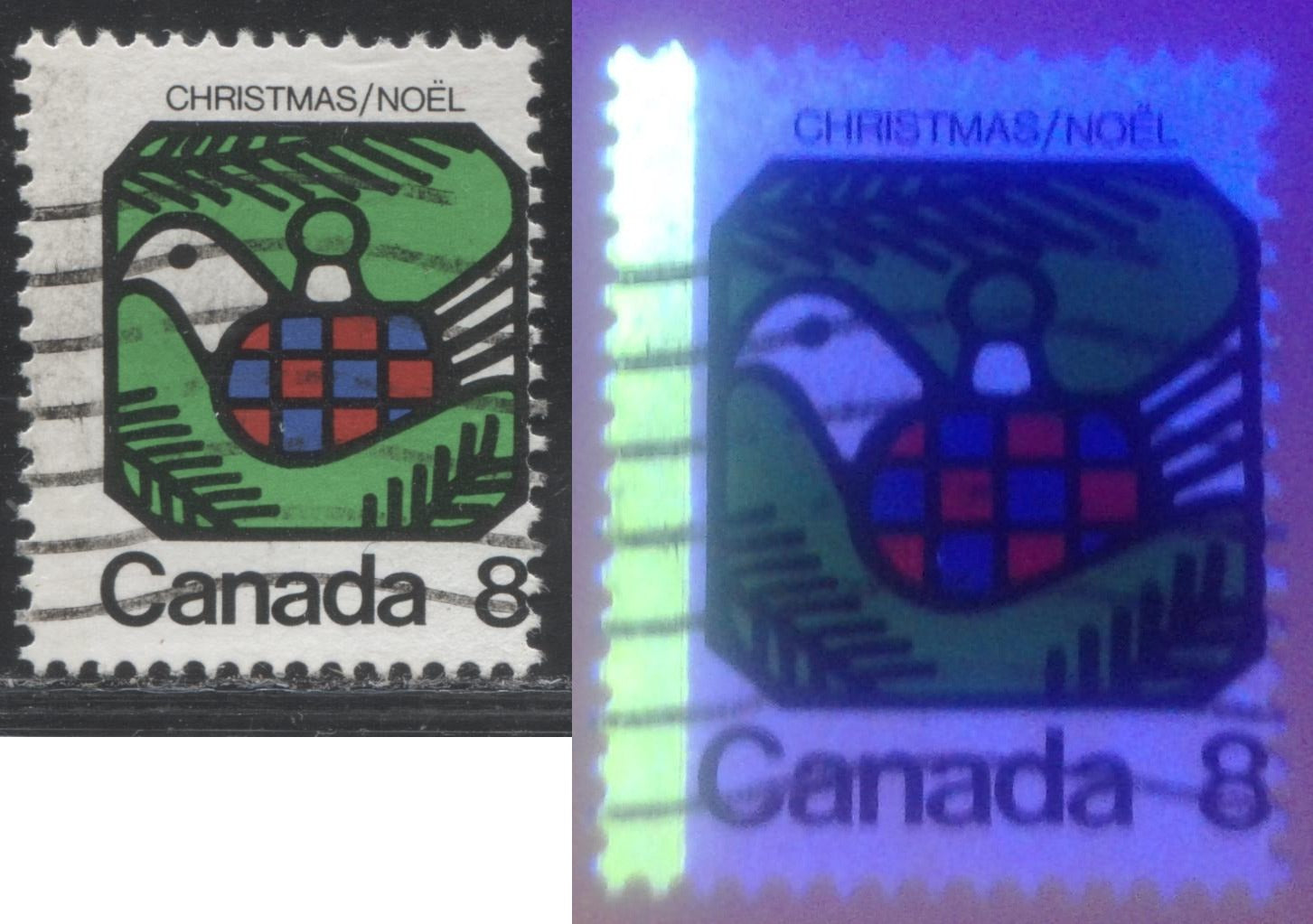 Canada #626 G1aL 8c Multicoloured, Dove, 1973 Christmas Issue, a Fine Used Single, on MF/HF Paper Showing 1-Bar Tag Error