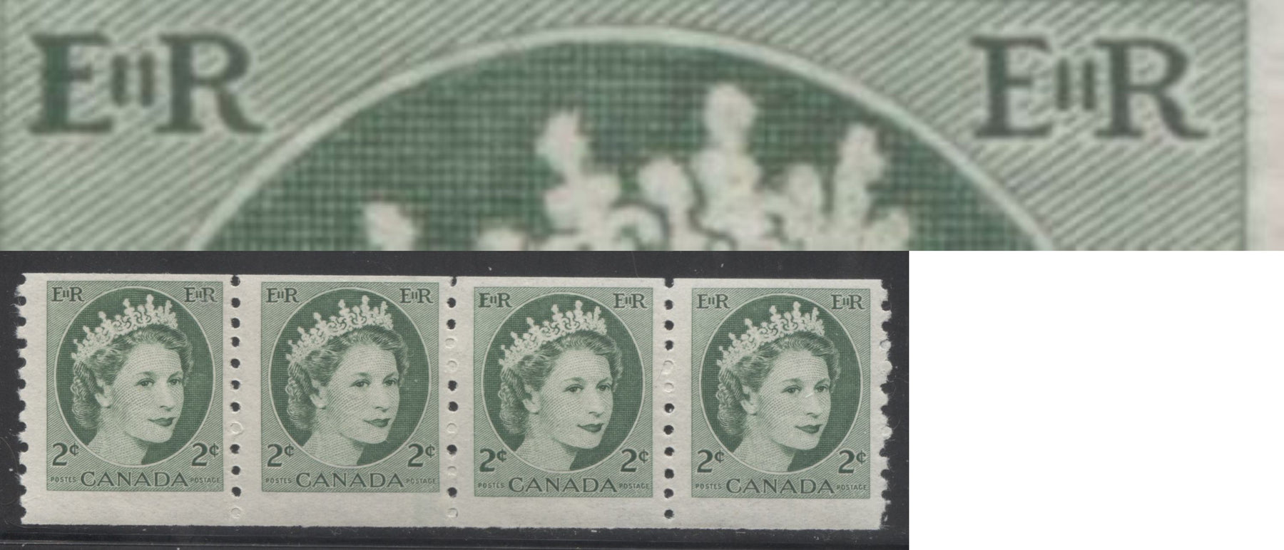 Canada #345vi 2c Light Green Queen Elizabeth II, 1954-1962 Wilding Issue, A Fine NH Coil Jump Strip on Fluorescent Ribbed Horizontal Wove Paper, Showing the Damaged E Variety