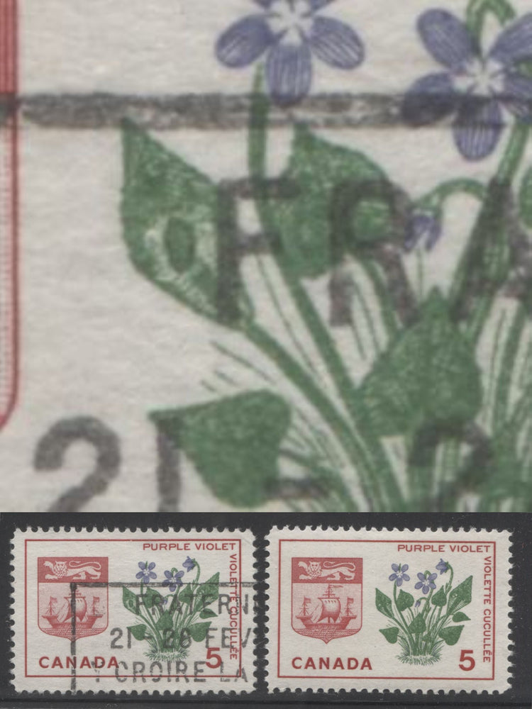 "Canada #421var 5c Carmine, Green And Violet New Brunswick, 1964-1966 Provincial Emblems Issue a Fine Used Example With ""Deformed Leaf"" Variety"
