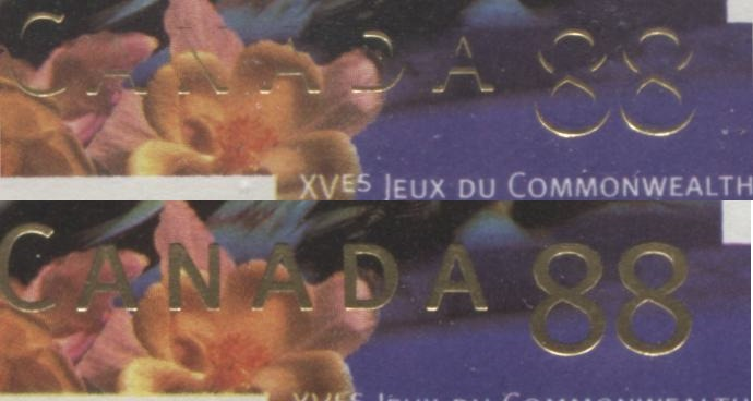 Canada #1522 88c Multicoloured Cycling, 1994 Commonwealth Games Issue a VFNH Example Showing Most of the Gold Inscription Missing