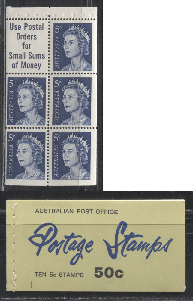 Australia #399a (SG#SB40) 5c Dark Blue Queen Elizabeth II 1966-1973 Decimal Definitive Issue, a VFNH Complete 50c Booklet, With Counting Mark